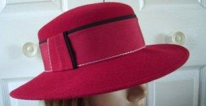 Vintage Red  Wool Mouchoir Felt Women Hat S Georgette