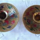 Vintage Pair Candle Holder Enamel Flowers Brass India