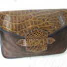 Vintage Brown Suede Leather Like/Moc Croc Clutch Purse