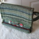 Vintage Green/Beige Hand Loomed Purse Quebec Canada