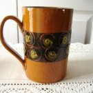 Vintage Pottery Beer Mug Yellow Abstract Design ITALY