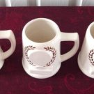 Vintage Beauce Pottery  3 Laurel Trophy Beer Mugs #3414