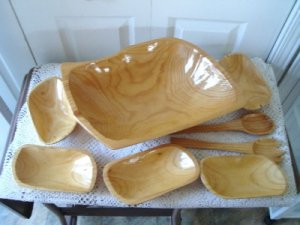 Vintage Huge Wood Salad bowl  Set So Retro!