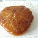 Vintage Caramel Swirl LuciteTrinket Box Signed