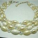 Vintage White Mixed Beads Bib Necklace Bridal/Prom