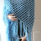 Vintage Light Blue Hand Made Shawl MUST SEE