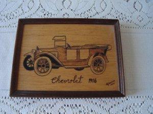Vintage Wood Burnt  Antique Car Frame 1977  Pyro- Decor