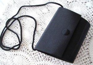 Vintage Black Ribbed Hard Sided Purse Gothic Chic