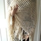 Vintage Gorgeous Square  Handmade Shawl Cream Yarn