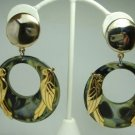Vintage Green Swirl Lucite Hoops/ Parrots Clip Earrings