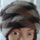 Vintage Brown/Beige Tulle Braided/Netting Women Hat S,