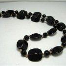 Vintage Black Lucite? Plastic Beads Necklace Gothic