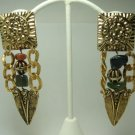 Vintage Goldtone/Semi-precious Stones Clip Earrings