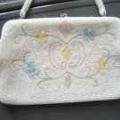Vintage White Glass Beaded Evening Purse Pastel Design