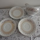 Vintage Astro Alfred Meakin White & Gold Lot:3 Saucers & 1 Creamer