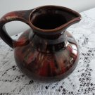 Vintage Brown & Red Drip Small Pottery Jug