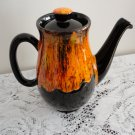 Vintage brown & Orange Pottery Teapot