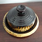 Vintage Brown & Yellow Lava Laurentian Pottery Round Butter dish
