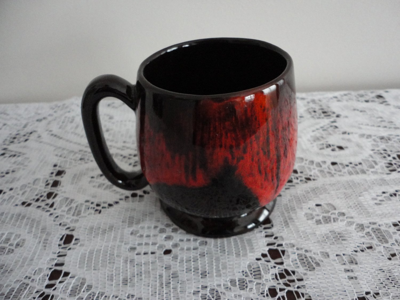 Vintage Red Drip on Brown Pottery Mug Evangeline Canada 70s