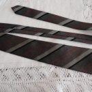 Vintage Grey Striped Polyester Blend Necktie Michel Robichaud