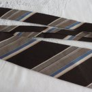 Vintage Striped Brown & Blue Polyester Wide Necktie Louis Feraud Paris