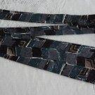 Vintage Silk Aqua & Grey Abstract Design Necktie Tradizioni