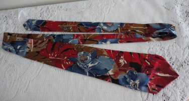 Vintage Italian Silk Flower Design Red/Blue Collection Europennes