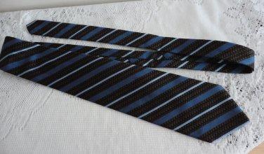 Vintage Brown & Blue Striped 100% Silk Necktie Cacharel