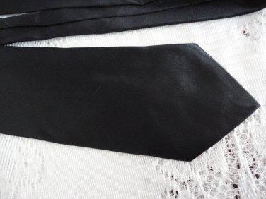 Vintage Black Hand Sewn 100% Polyester Wide Necktie