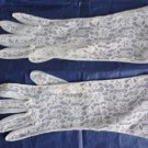 Vintage White Lace Nylon Mid-Arm Gloves Size 6/6½? Lenght 11¾ Inches  60's.