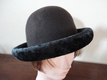 Vintage Dark Brown Felt & Black Velvet Women Hat 21½ Small