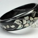 Vintage Black Painted Wood Bracelet Mother of Pearl Inlay Flower & Leaves Design