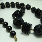 Vintage Black Chunky Lucite Necklace Gotic Mourning