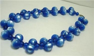 Vintage Shimmering Blue Lucite  Beads  Necklace 70's