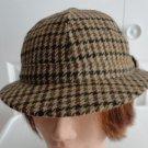 Vintage Black/Brown Harrisson 100% Wool Men Hat Fedora 7, 57 cm, M, Scotland