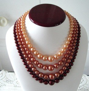 Vintage 80's 4 Strands Necklace Peach to Burgundy Beads