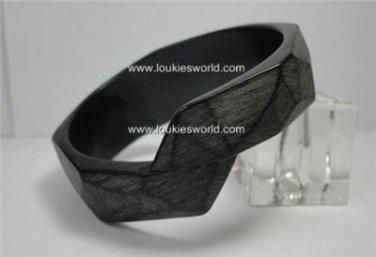 Vintage Unusual Charcoal Bark Effect Bangle Bracelet  80's