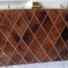Vintage Diamond Design Snakeskin Brown Clutch Purse