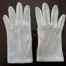 Vintage  Cream  Nylon Short Gloves Size 6? West Germany  7 Inches long.