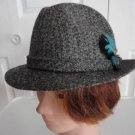Vintage Grey Harris Tweed Fedora Men Hat 7 56 cm 21 7/8 in Stetson Gun Club