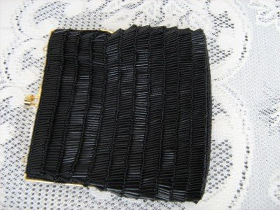 Vintage Black Fully  Glass Beaded  Evening Clutch Purse