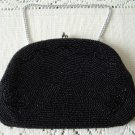 Vintage Black Fully Glass Beaded Clutch Purse Handmade in Japan