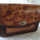 Vintage Tan Hand Tooled Flower Design Genuine Leather Purse