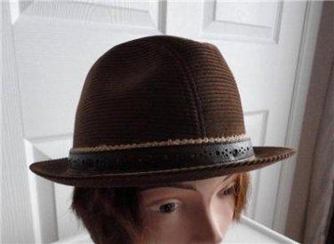 Vintage Brown Corduroy Fedora Men Hat 7, Medium 21 7/8 in Biltmore Canada