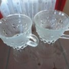 Vintage 2 cups Clear Glass  China Pearlware 50's