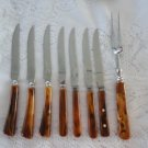 Vintage 8 pcs Bakelite Caramel Swirl 6 Mixed Steak Knives/Serving Fork Set 60`s