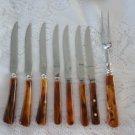 Vintage 8 pcs Bakelite Caramel Swirl 6 Mixed Steak Knives/Serving Fork Set 60`s