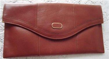 Vintage Brown Genuine Leather Clutch Purse Normandie 70`s