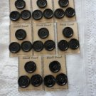 Vintage Lot Black 8 Cards/3 Buttons 1¼ inch 4 holes Shield Brand MadeCanada
