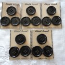 Vintage Lot Dark Brown 5 Cards/3 Buttons 1¼ inch 4 holes Shield Brand MadeCanada